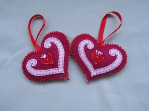 Felt hearts from Dovecraft kit