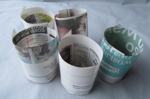 Completed newspaper pots