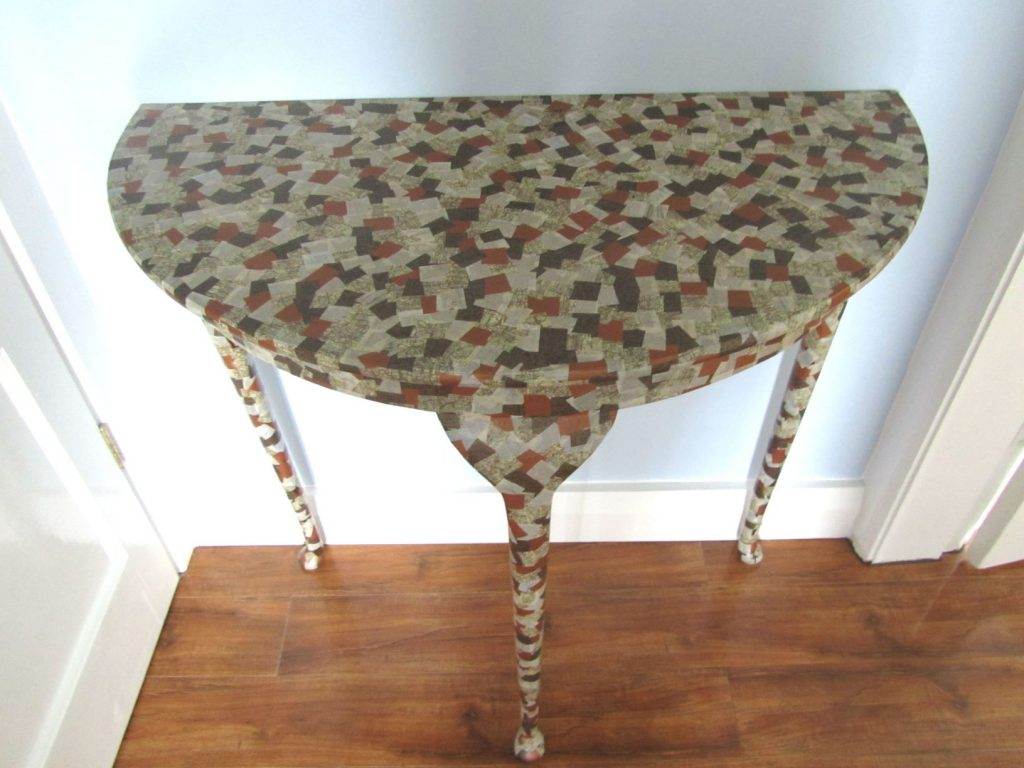 Completed decoupage table