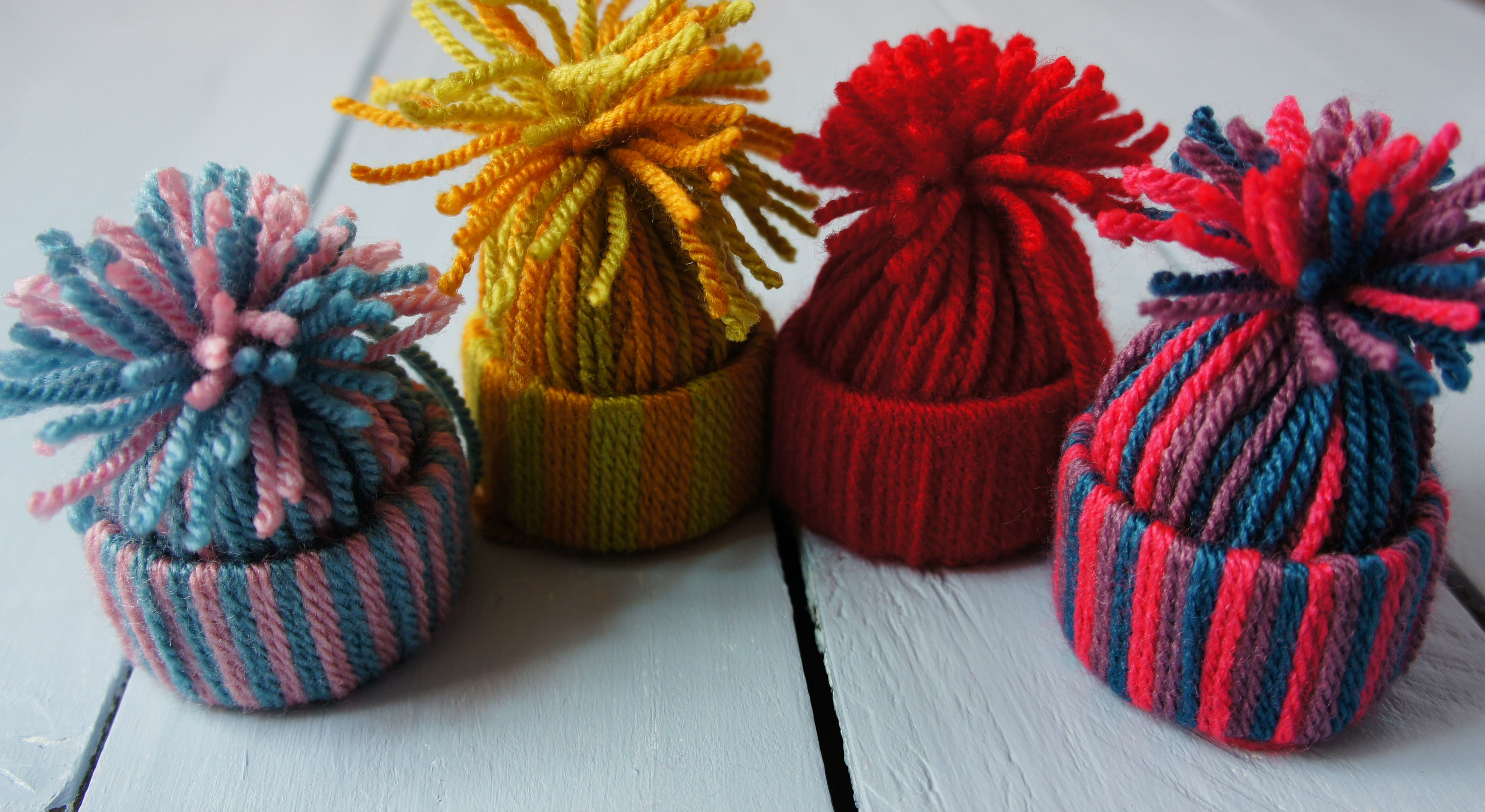 Woolly Hat Ornaments Completed