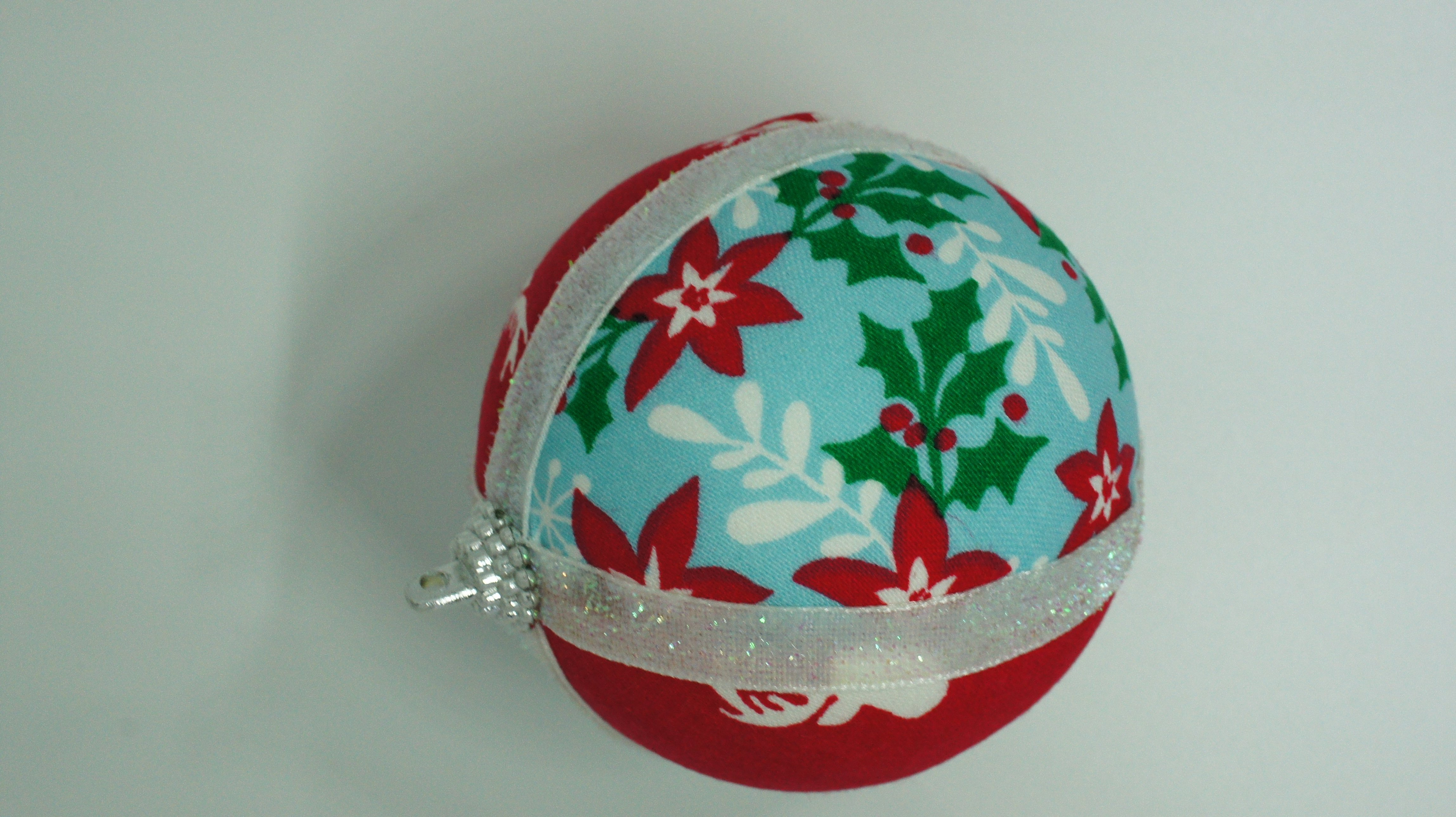 Christmas Fabric Ornament with ribbon attached