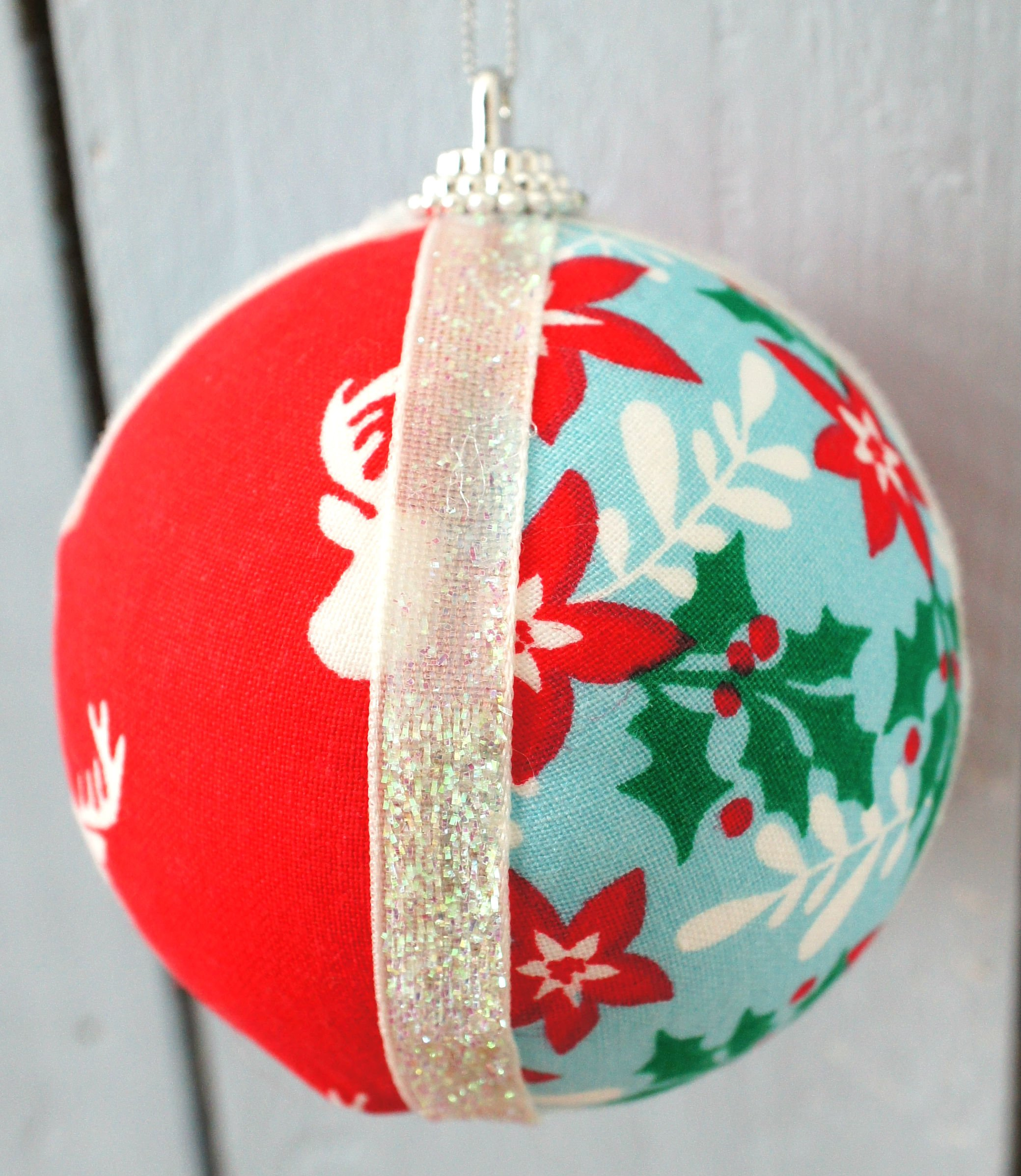 Xmas Fabric Sphere Ornament completed