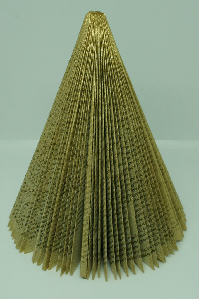 Folded Book Christmas Tree - sprayed gold