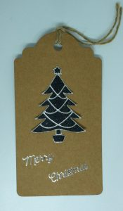 Black Christmas tree tag