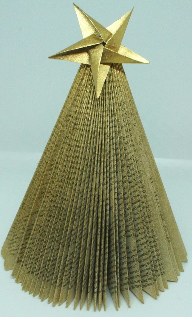 Folded Book Christmas Tree with star