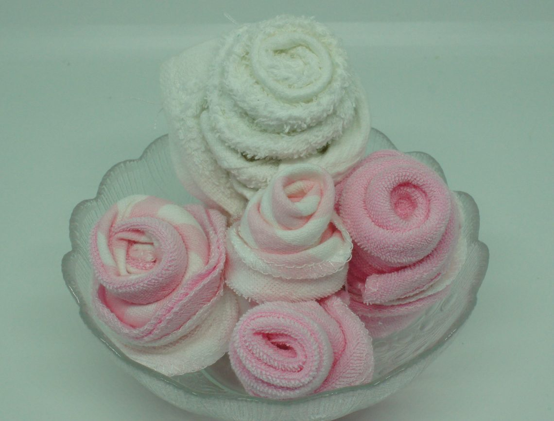 Washcloth roses - in bowl no green