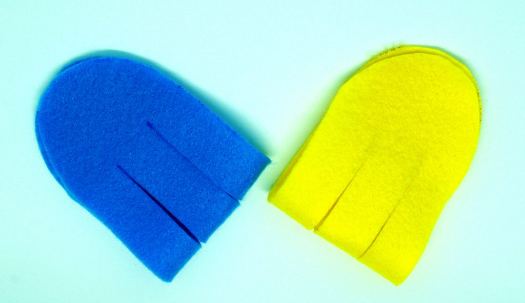 Blue and yellow felt pieces
