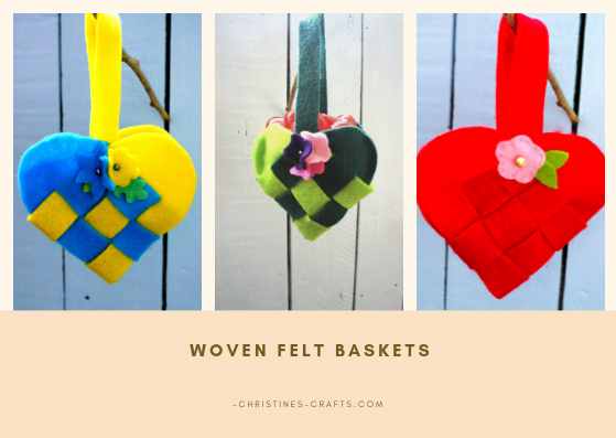 Completed woven felt baskets