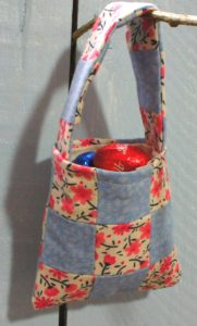 pink and blue patchwork gift bag