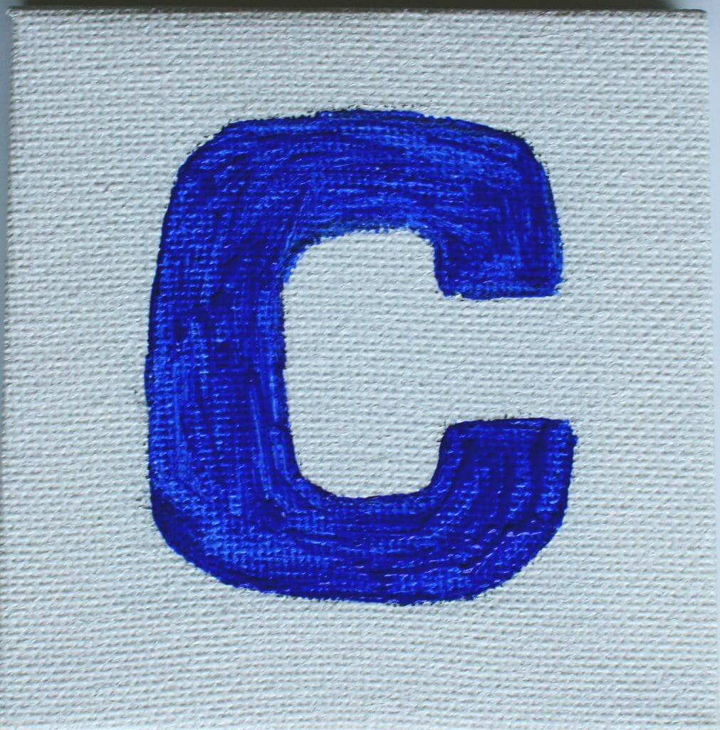 Painted C on canvas