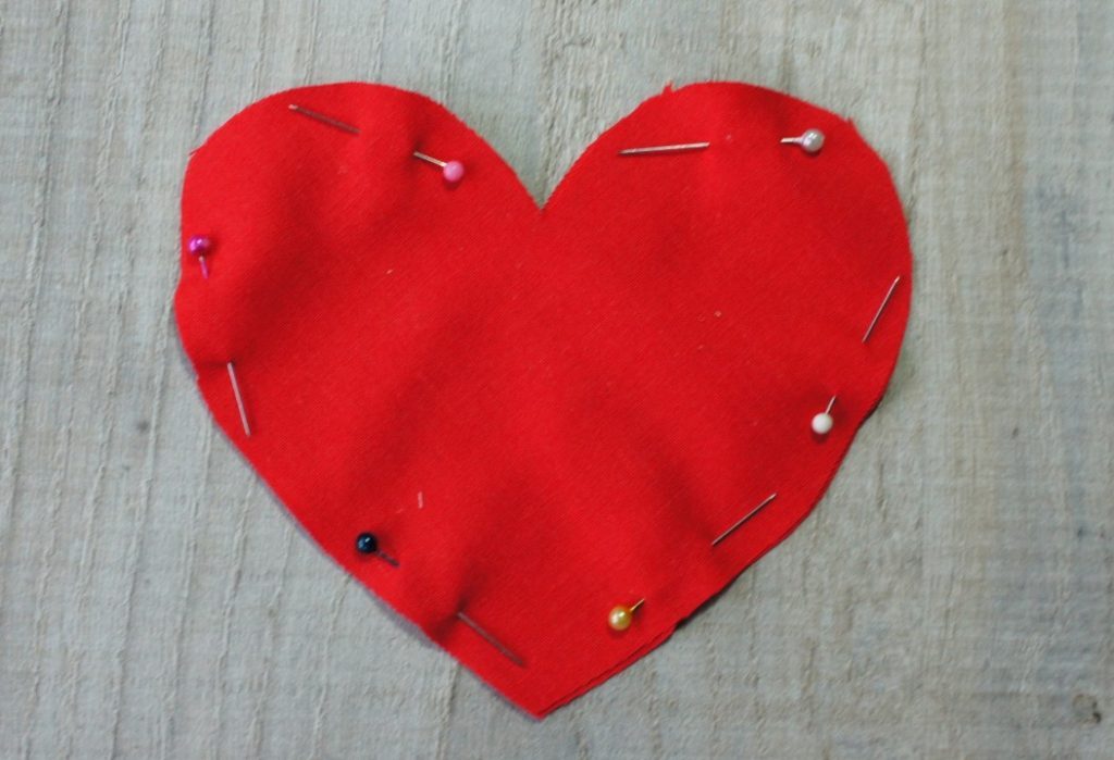 Heart pinned ready to sew