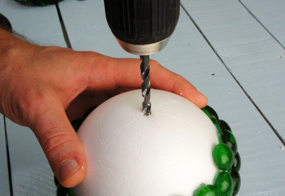 Drilling hole in ball