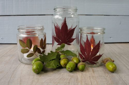 Fall Decor DIY autumn tealight holders