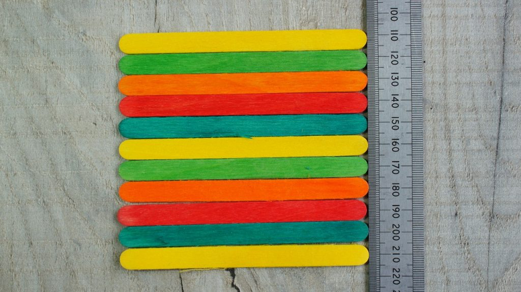 popsicle sticks lined up
