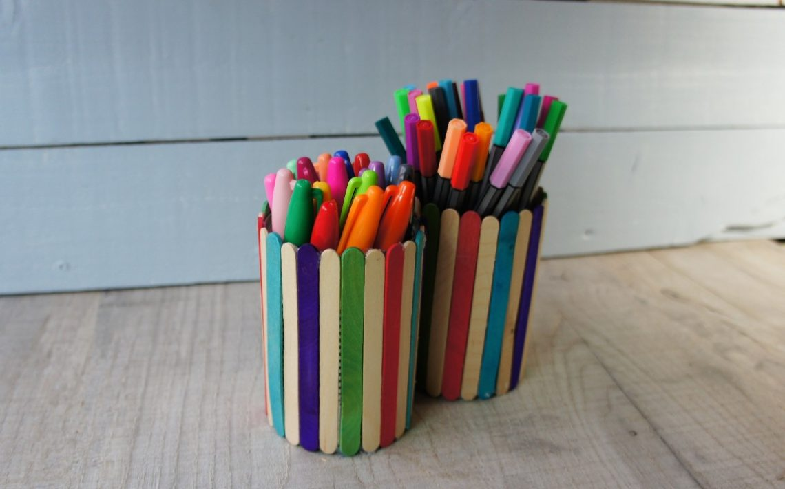 Popsicle Stick Tin Can Upcycling Project