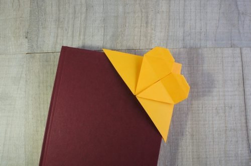 completed yellow origami heart bookmark