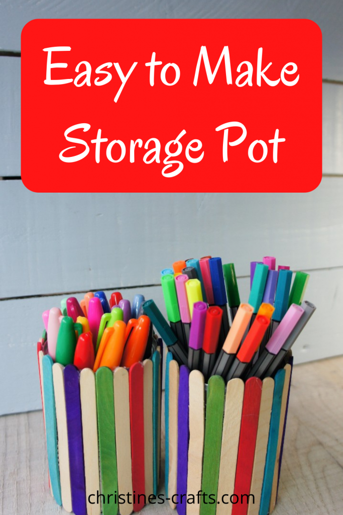 tin can storage pot with popsicle sticks