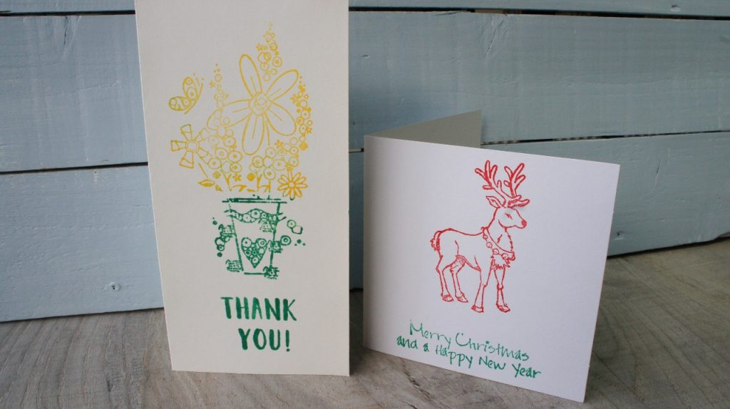 Two stamped cards  - using stamps