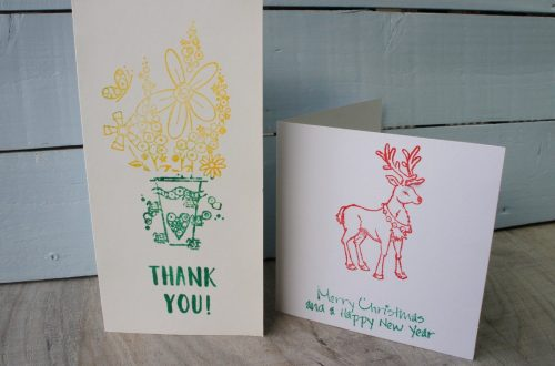 Two stamped cards