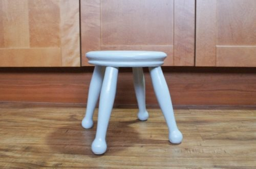 grey wooden stool in kitchen
