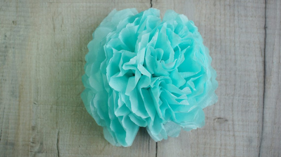 completed tissue paper flower
