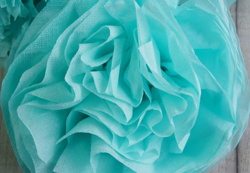 completed tissue paper flower with no trimming