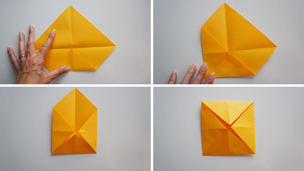 first folds of origami lotus flower